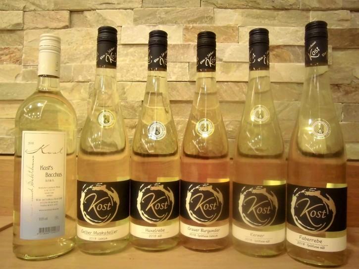 6er Probierpaket Weißweine -lieblich- 5 Fl. x 0,75l + 1 Fl. x 1l