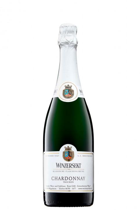"""CHARDONNAY -trocken- pikanter Winzersekt 0,75l """"traditionelle Flaschengärung"""""""